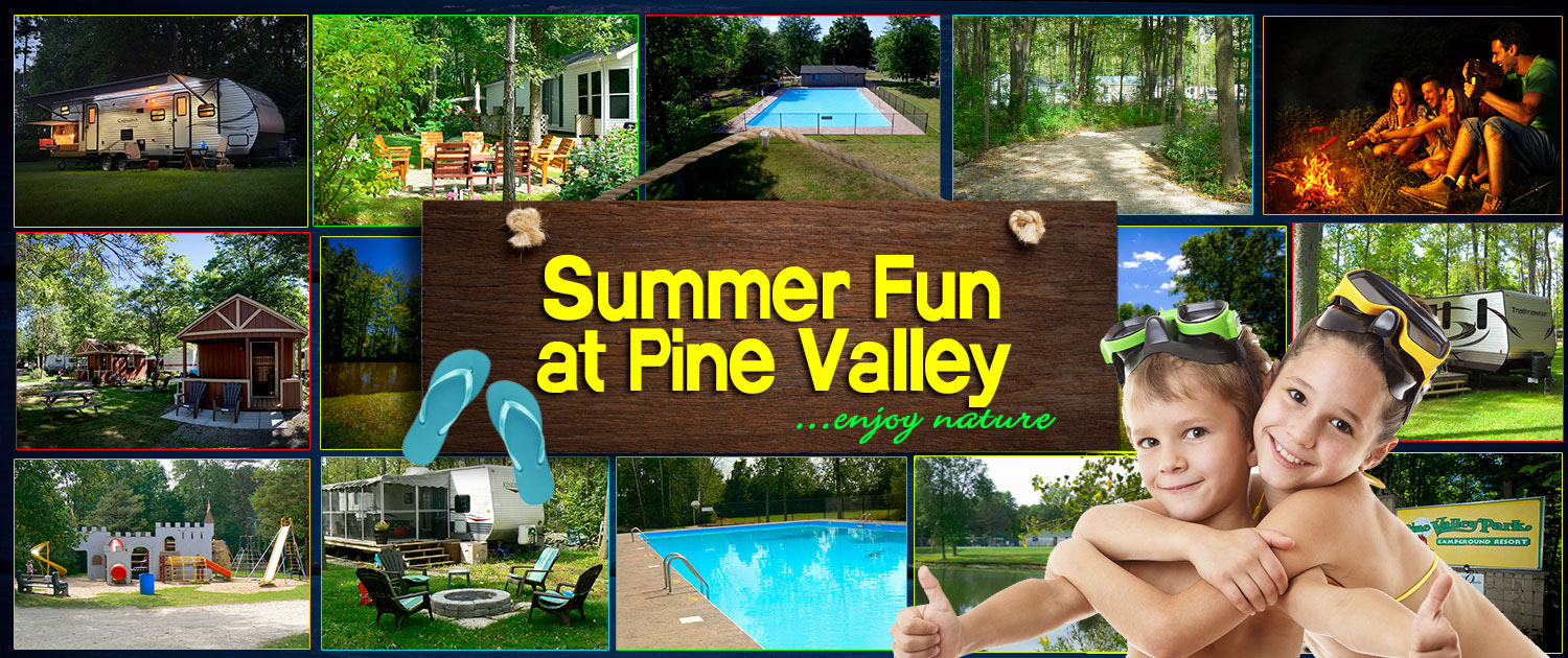 Pine Valley Camping Resort Summer Fun Banner